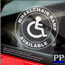 1 x Wheelchair Ramp Available-Round-Window Sticker-Sign,Car,Badge,Disabled,Notice